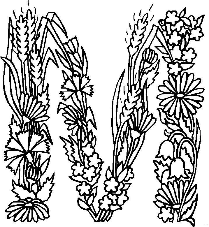 Kleurplaten en zo kleurplaten van alfabet bloemen for S and m pictures