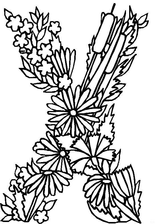kleurplaten en zo » Kleurplaten van alfabet bloemen