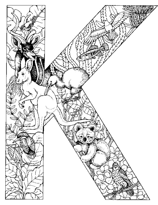 Kleurplaten en zo kleurplaat van letter k for The letter k coloring pages
