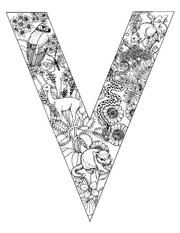 Free Fancy Letter V Coloring Pages