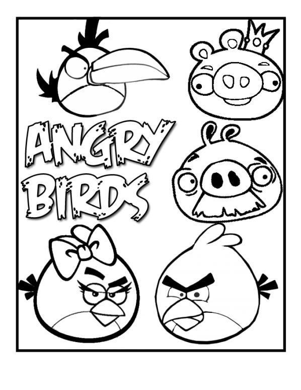 kleurplaten en zo » Kleurplaten van angry birds
