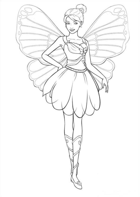 Butterfly Barbie Coloring Pages