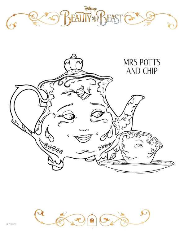 Print mrs potts chip kleurplaat