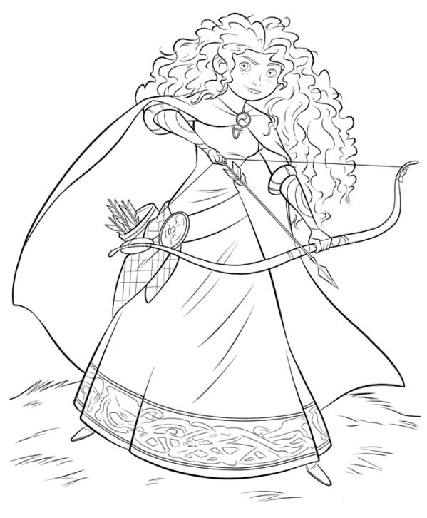 Print Merida with bow and arrow kleurplaat