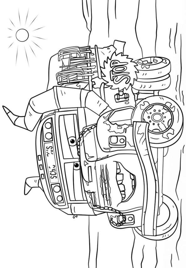Kleurplaat Blaze Monster Truck Ausmalbild Maximum Destruction