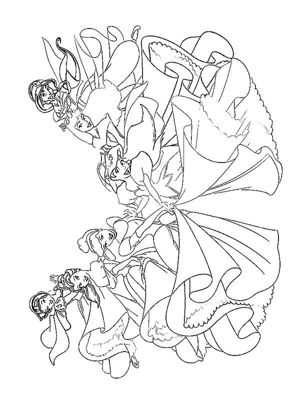 kleurplaten alle prinsessen