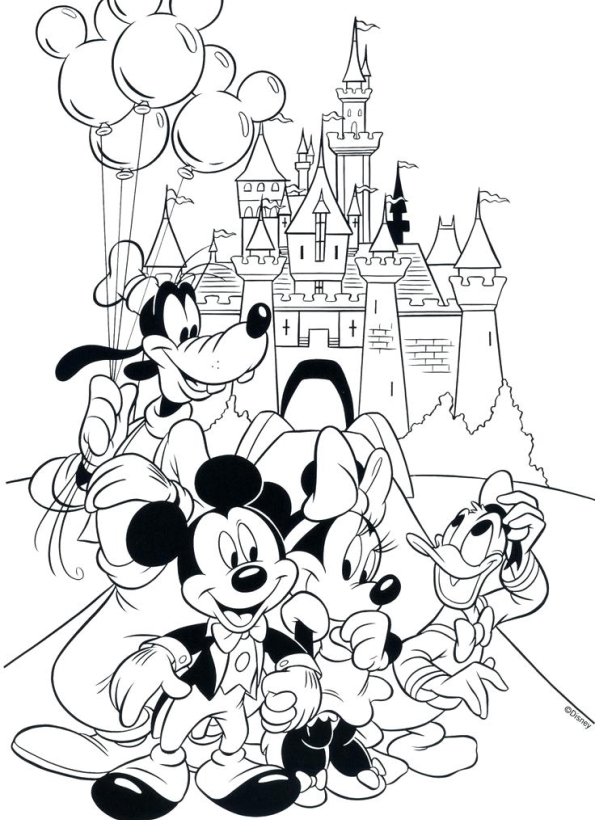 Print Mickey and friends kleurplaat