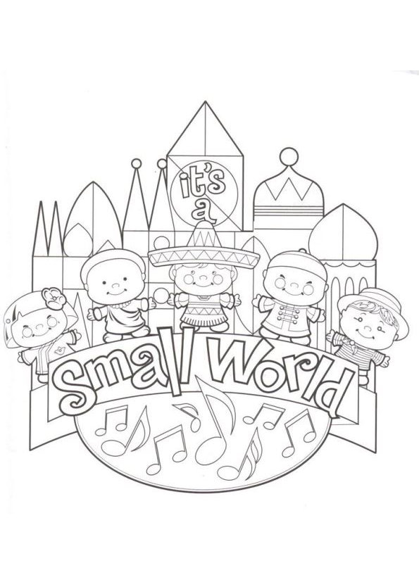 Print its a small world kleurplaat