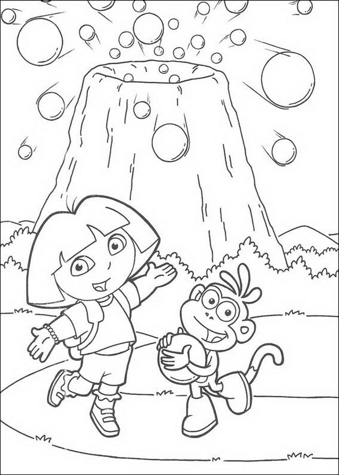 Kleurplaten En Zo Dora.Kleurplaten En Zo Kleurplaat Van Dora En Boots Bij De Vulkaan
