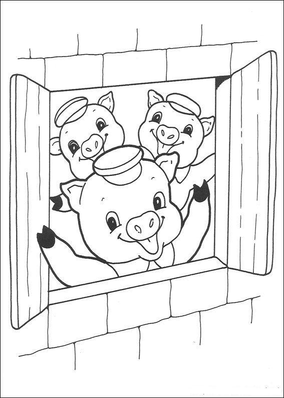Coloring Pages 3 Little Pigs : kleurplaten en zo Kleurplaten van drie biggetjes