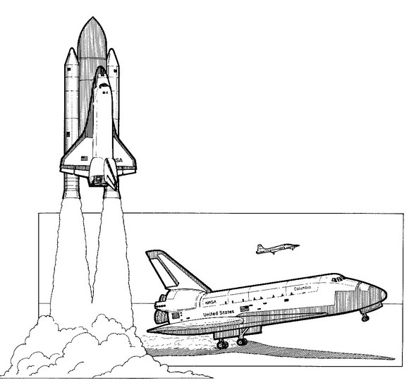 Print Spaceshuttle, 1981 kleurplaat