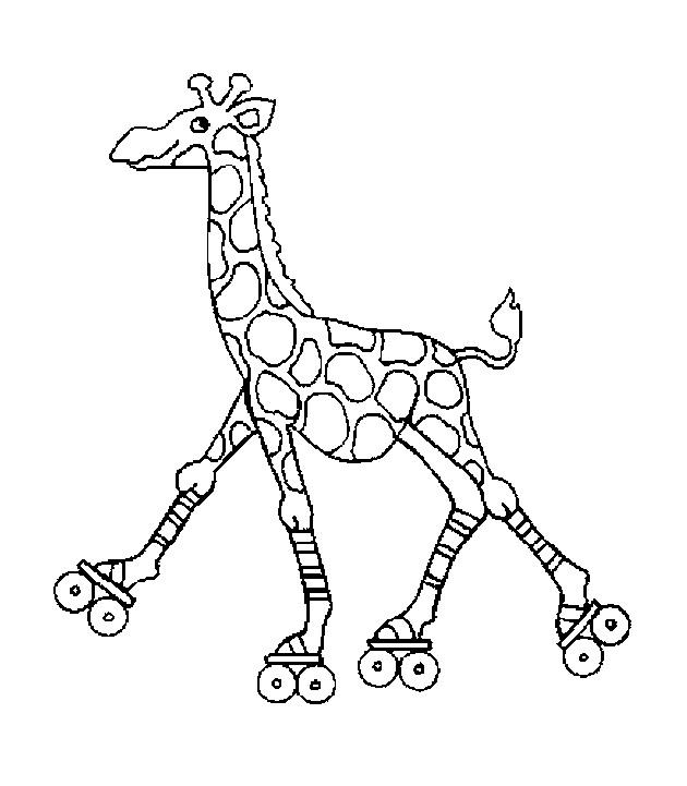 kleurplaten en zo 187 kleurplaat giraffe op rolschaatsen