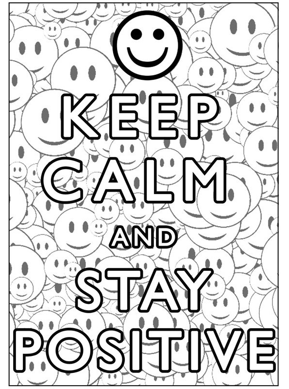 Print keep calm and stay positive kleurplaat