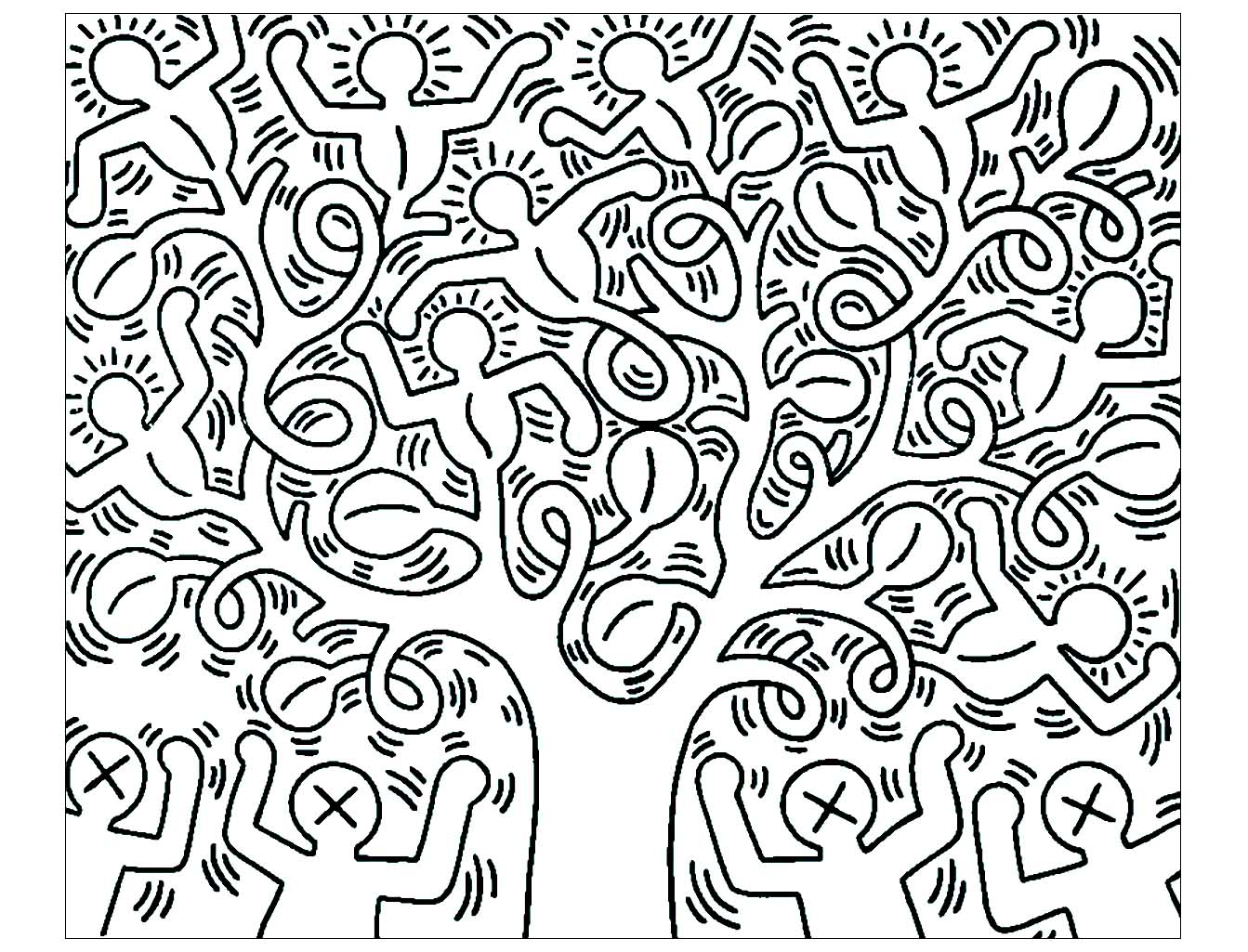 Print coloriage adulte keith haring 6 kleurplaat