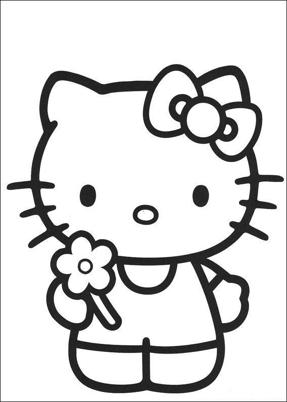 Print kitty heeft een bloem geplukt kleurplaat