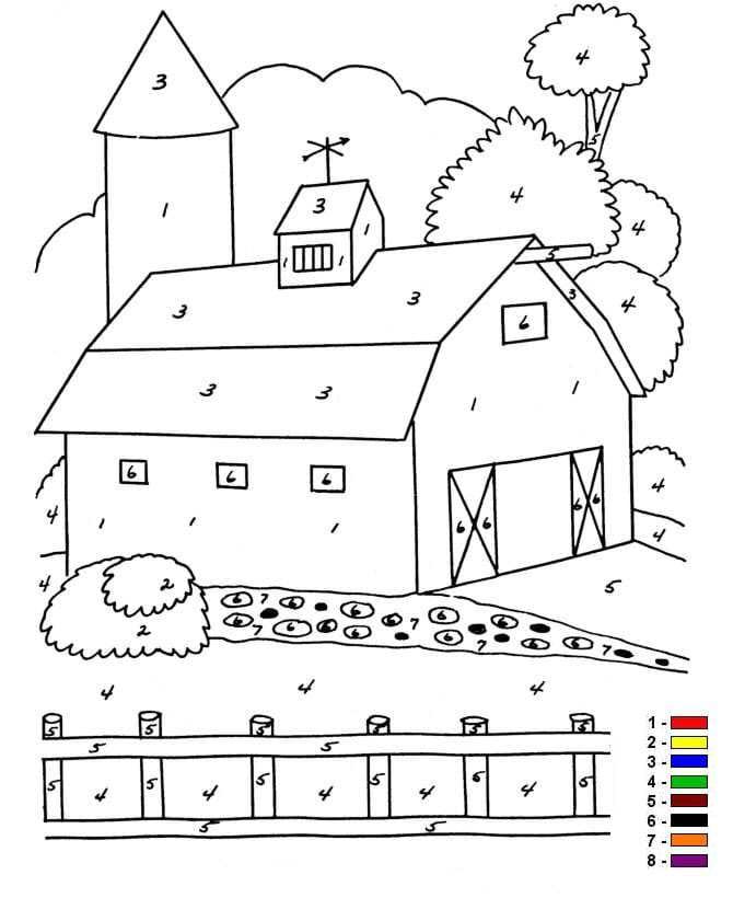 Kleurplaten Boerderijen.Kleurplaten En Zo Kleurplaat Van Kleur Op Nummer Boerderij