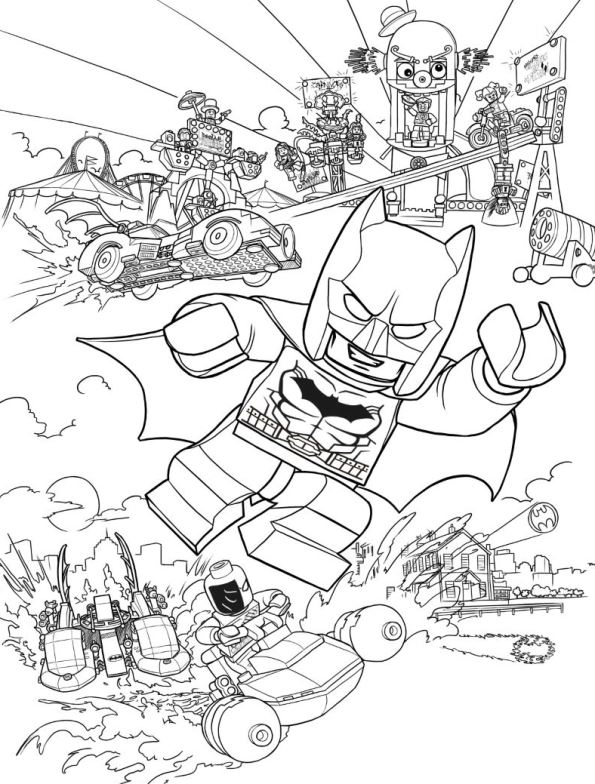 Print batman action kleurplaat