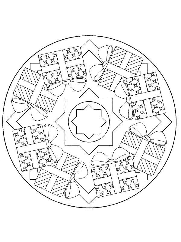 Kleurplaten En Zo Kleurplaat Van Kerstmis Mandala Cadeautjes