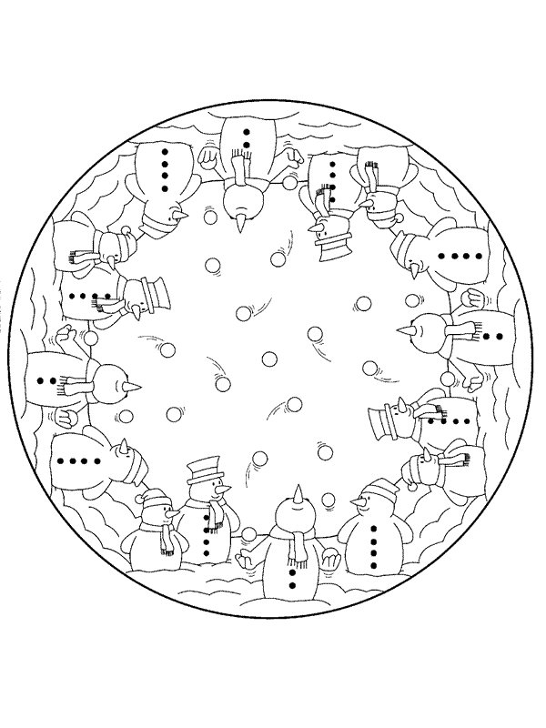 kleurplaten en zo » Kleurplaat van Kerstmis Mandala sneeuwpop