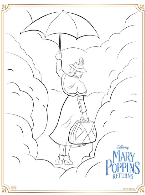 Print Mary Poppins returns kleurplaat