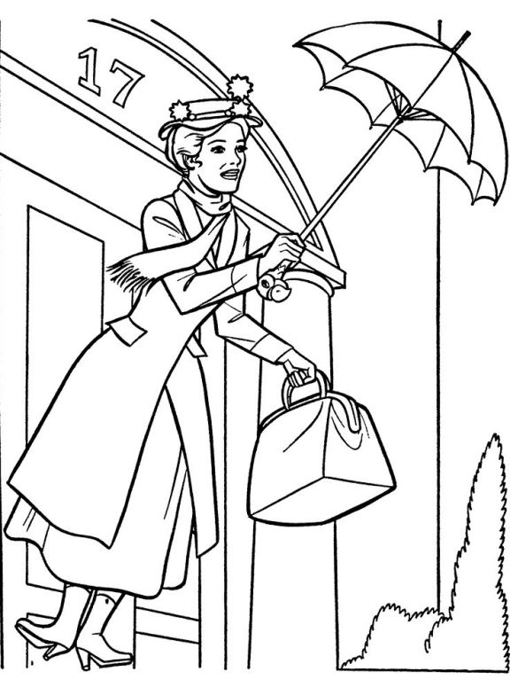 Print Mary Poppins kleurplaat