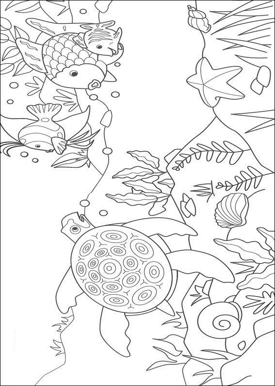 Kleurplaten en zo kleurplaat van mooiste vis en zeeschildpad for Disegni pesciolino arcobaleno