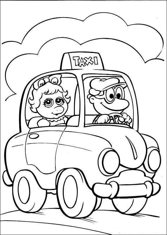 kleurplaten en zo 187 kleurplaat piggy in de taxi