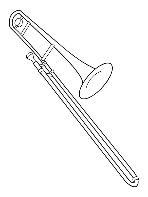 Kleurplaten en zo kleurplaat van trombone for Coloring pages of musical instruments