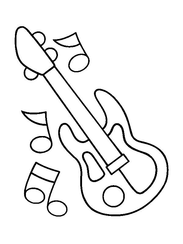 kleurplaten en zo 187 kleurplaat gitaar