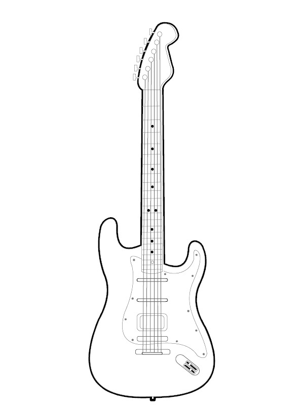 Rock Guitar Coloring Page. Drawn wings silhouette - Pencil and in ...
