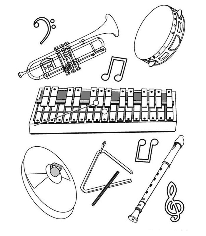 Printable Musical Instruments Coloring Pages
