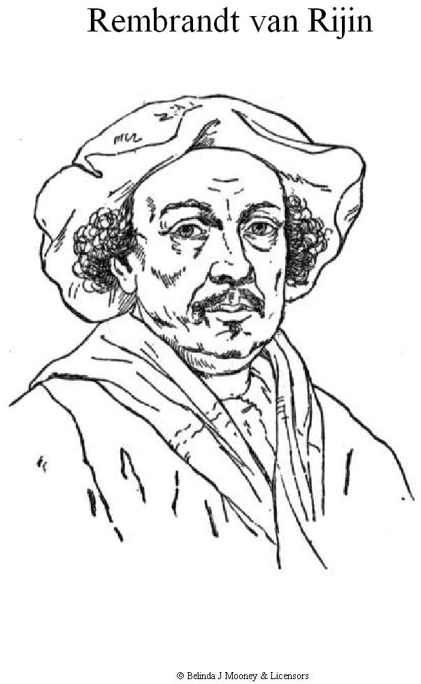 Kleurplaten En Zo 187 Kleurplaat Van Rembrandt Van Rijn