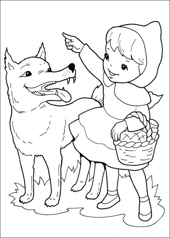Print Wolf wijst de weg kleurplaat