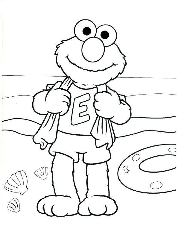 Kleurplaten En Zo 187 Kleurplaat Van Elmo Op Het Strand