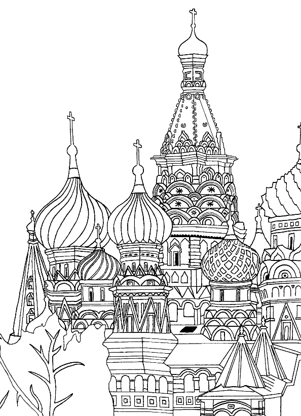 Print saint-basil-cathedral-red-square-moscow kleurplaat