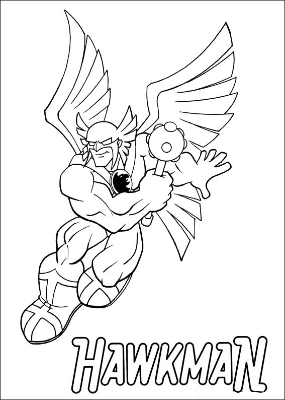 Print Superfriends - Hawkman kleurplaat