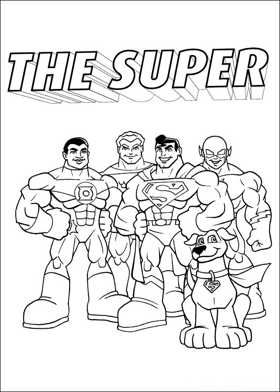 Print Superfriends kleurplaat