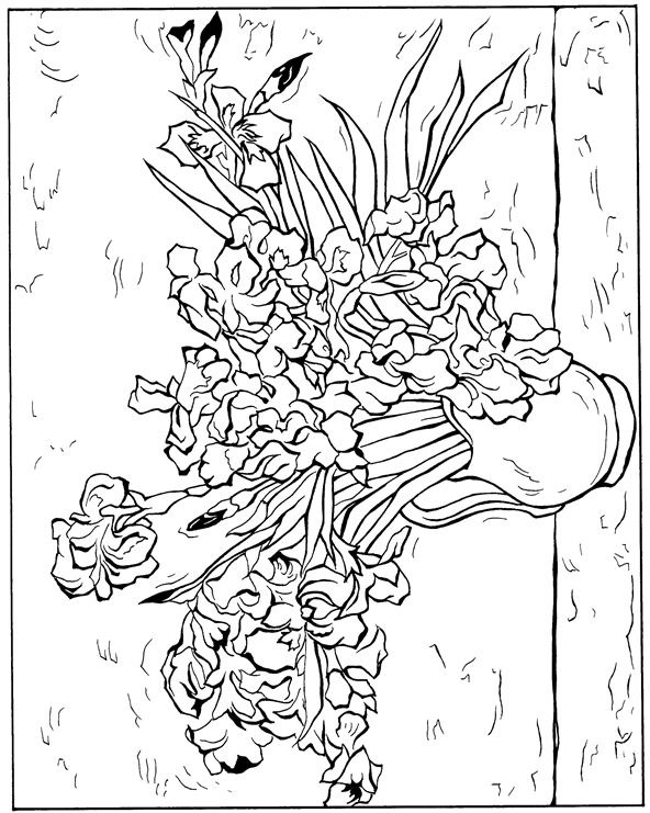 van goghs sunflowers coloring pages | Vincent Van Gogh Sunflowers Coloring Page Sketch Coloring Page