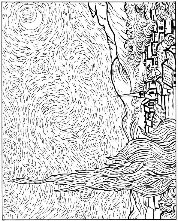 Kleurplaten En Zo 187 Kleurplaten Van Vincent Van Gogh Starry Coloring Page