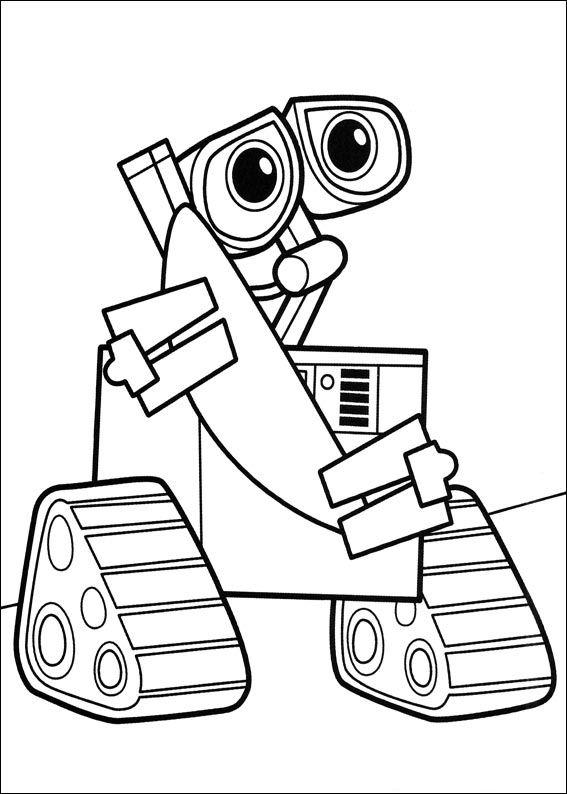 Disney Robots Coloring Pages : Kleurplaten en zo van wall e