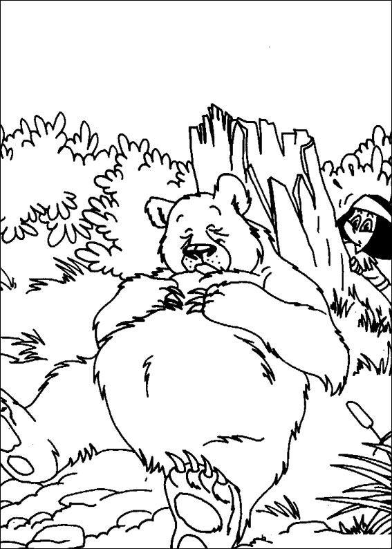 kleurplaten en zo » Kleurplaat van De beer slaapt